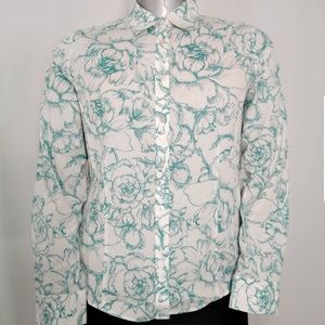 Talbots Blouse Floral Long Sleeve Button Blouse 14